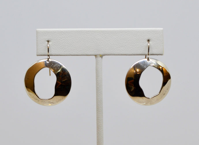 Earrings- Silver circles with cutout