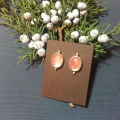 Pink Cabochon Stud Earrings by Emily Spykman