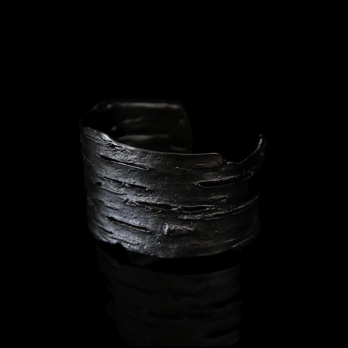Birch Bark Cuff Bracelet, Gun Metal, by Michael Michaud