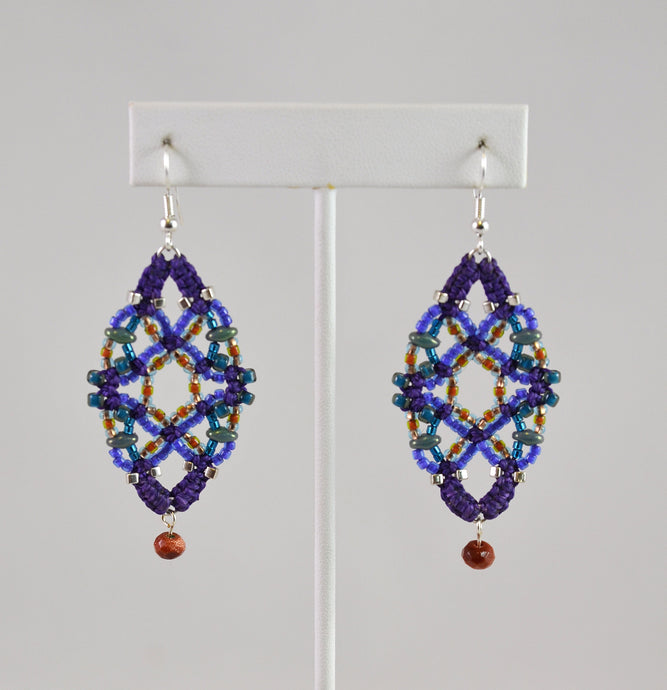 Beaded Earrings (purple/rust/teal) by Renate Kasper