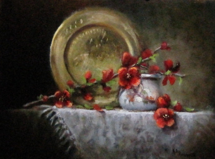 Flowering Quince & Brass by Kelley Goldsmith