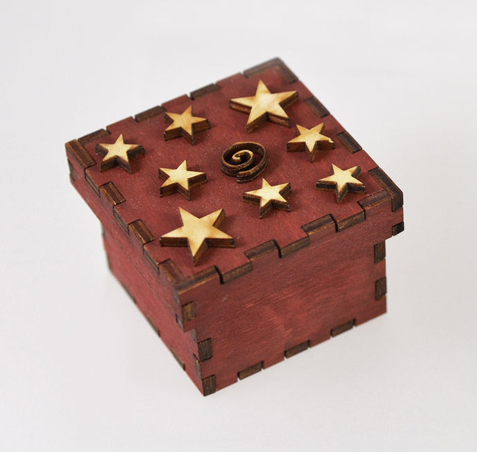 Tiny Treasure Box (stars/red) by Doles Orchard Box Shop
