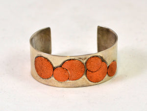 Bracelet- copper circles on silver