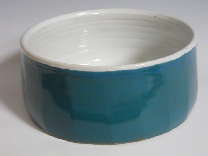 Turquoise and white serving bowl by Roy Brown