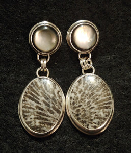 Black Mother-of-Pearl & Black Fossil Coral Earrings by Karla Mock