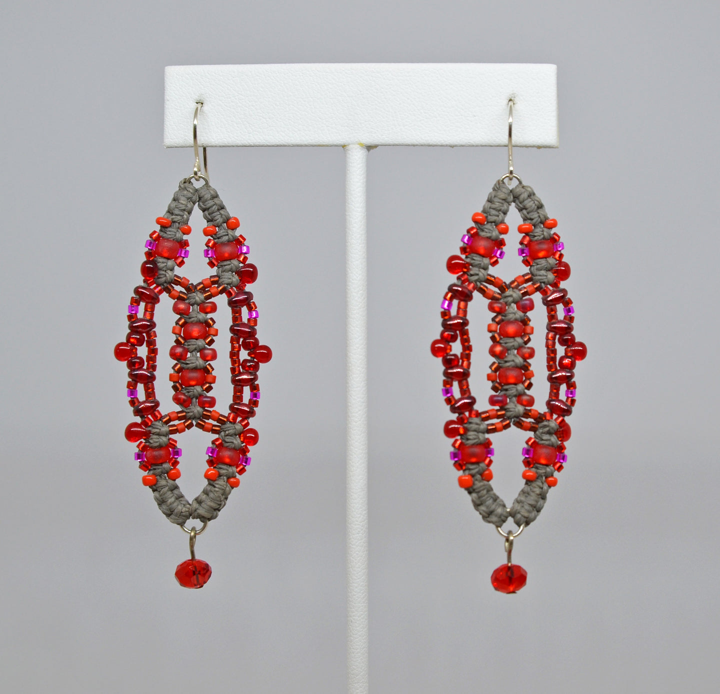 Beaded Earrings (red/gray) by Renate Kasper