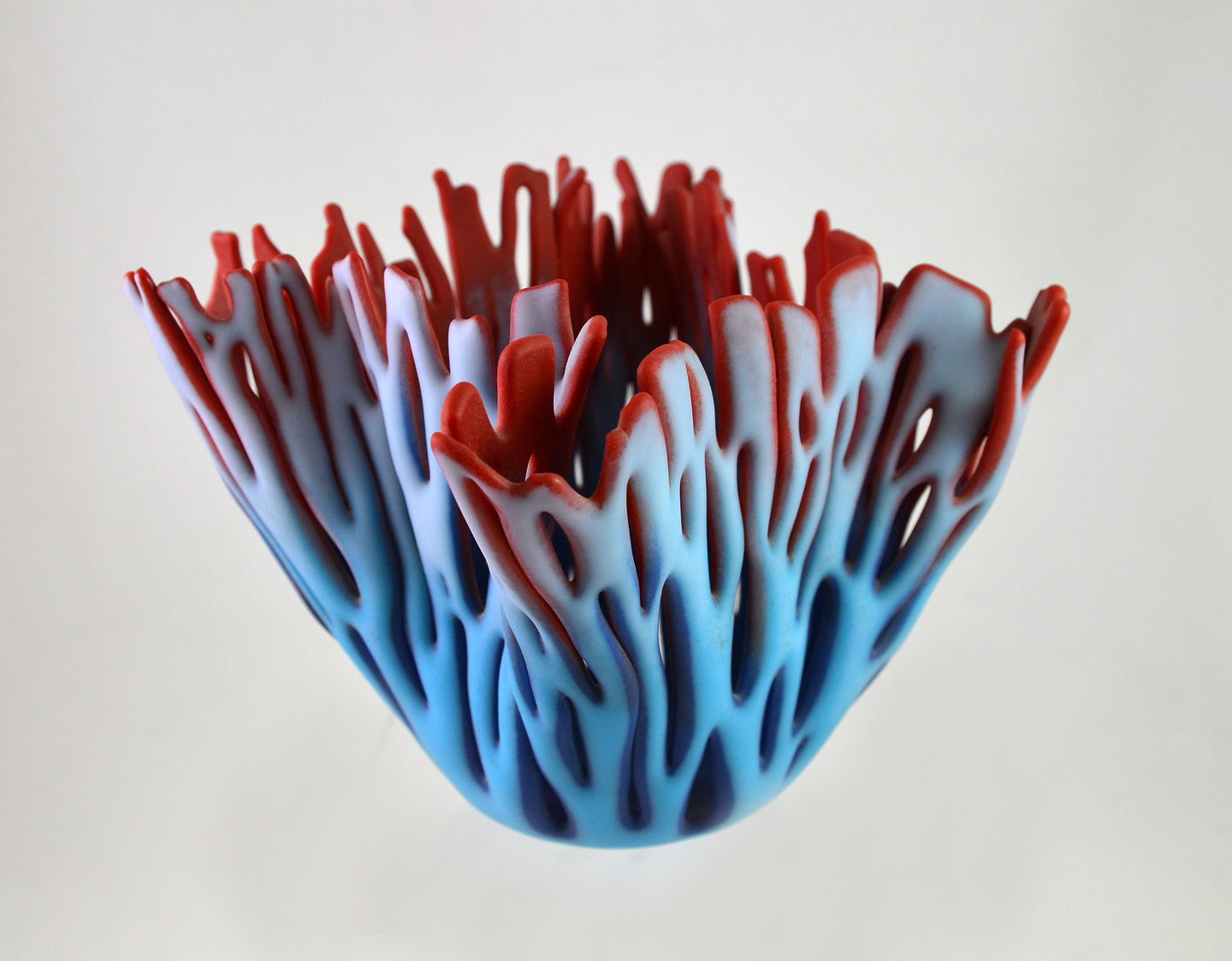 Small Vase (cyan/pink on indigo/red) by Glenda Kronke