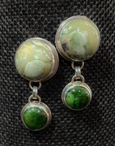 Rhyolite & Chrome Diopside Earrings by Karla Mock