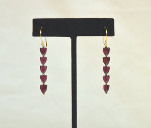 """Garnet Triangle Long Earrings"" by Kate Winternitz"