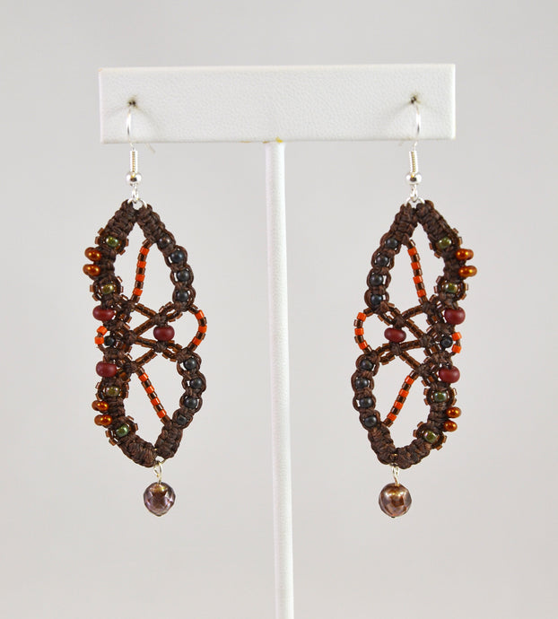 Beaded Earrings (brown/rust/pearl) by Renate Kasper