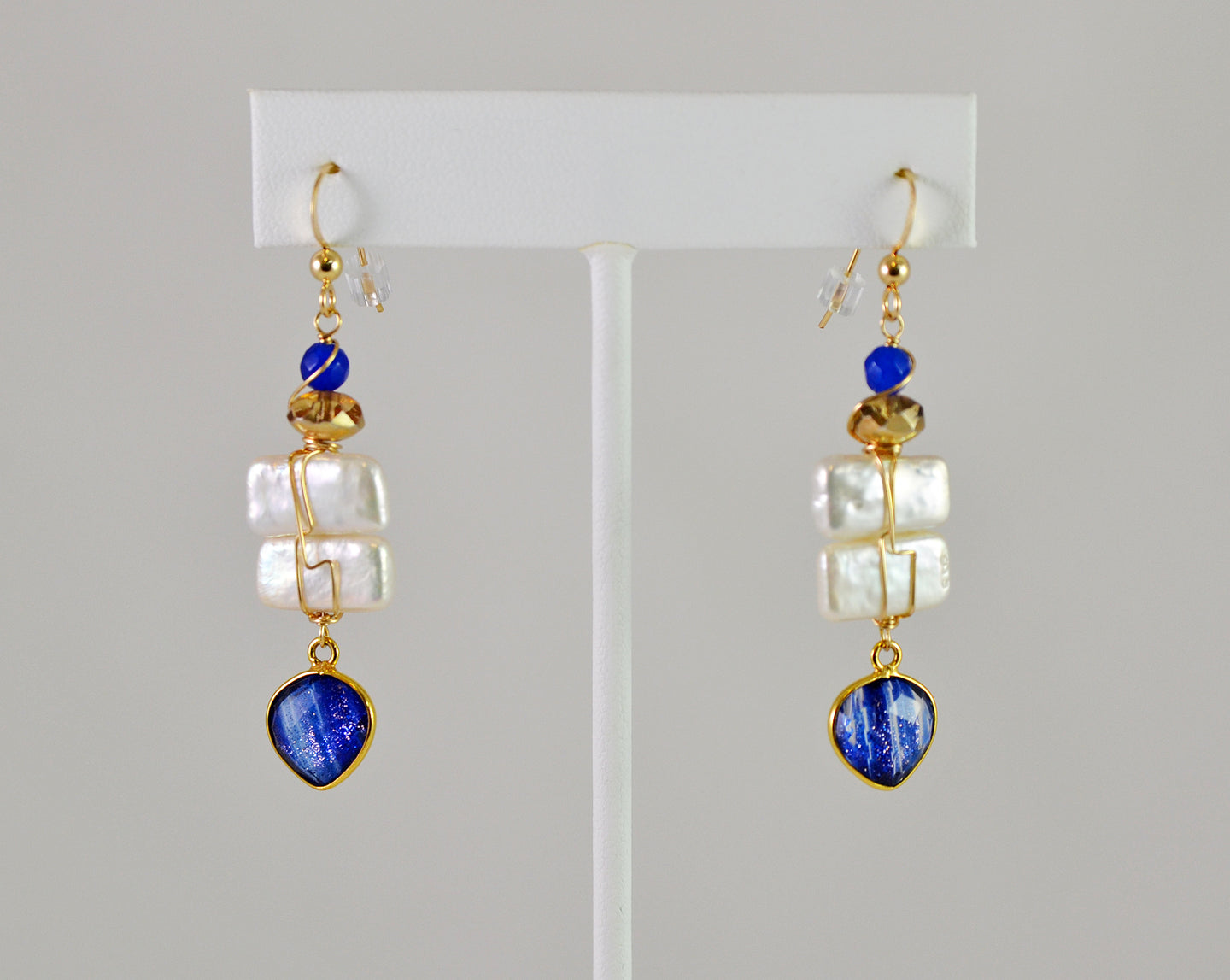 Pearl and Bezeled Gem Earrings by Anna Balkan