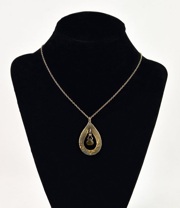 Silver necklace with gem by Christina Chomel