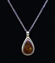 Load image into Gallery viewer, Mexican Fire Opal set in silver with silver chain by Christina Chomel