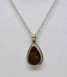 Mexican Fire Opal set in silver with silver chain by Christina Chomel