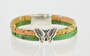 Cork Bracelet with Butterfly (green, medium) by Elisabetta Studio