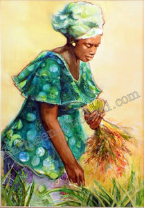 Rice Harvester (Spring Green)print by Kathleen Stafford