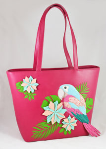 """Parrot Paradise"" Tote (Raspberry) by Vendula of London"