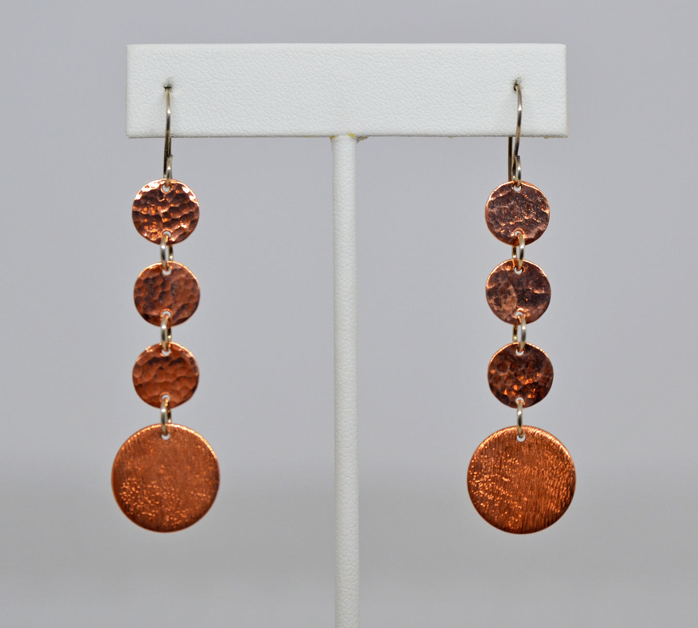 ctc174  4 disk Copper Earrings by Christina Chomel