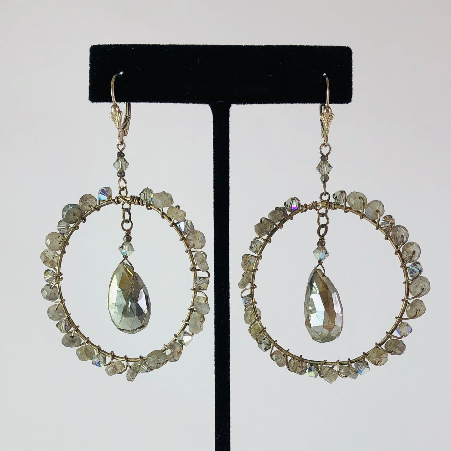Earrings, ES, Bella Grande pearl lab, by Cynthia Bloom