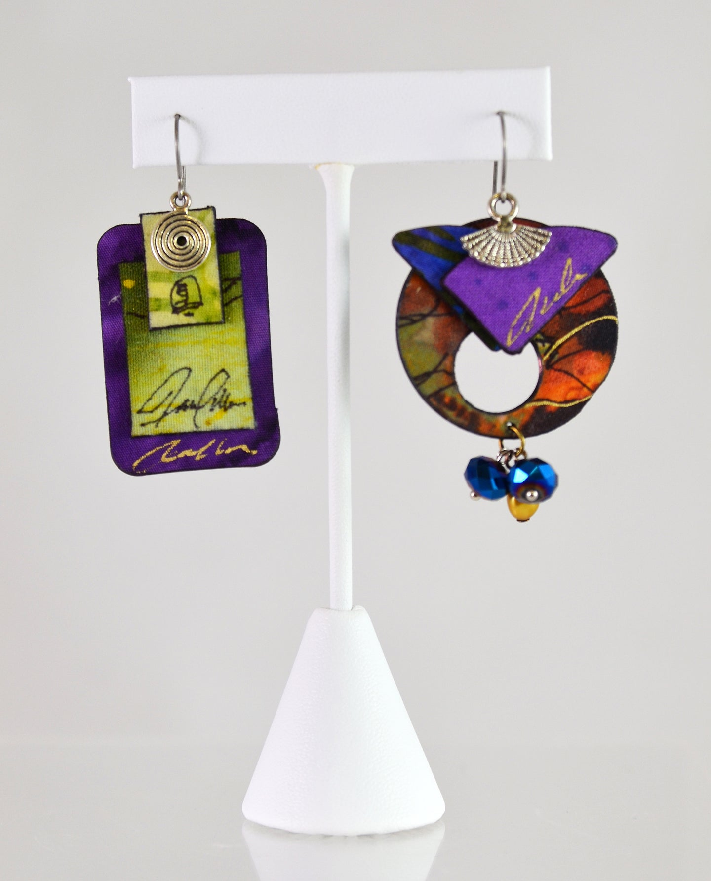 Asymmetric Earrings (green/purple/rust) by Blue Palms Fiber Art