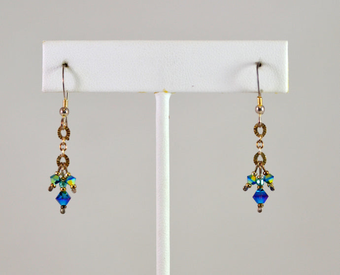 Earrings ES Turquoise Crystals with Chain by Cynthia Bloom