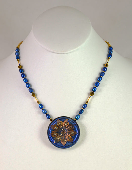 Lotus Necklace NGB Royal by Cynthia Bloom