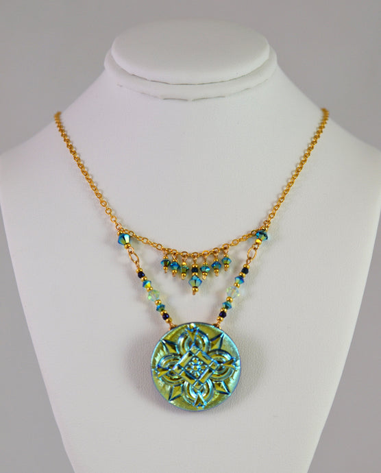 Deco Necklace with Dangles in Turqouise by Cynthia Bloom