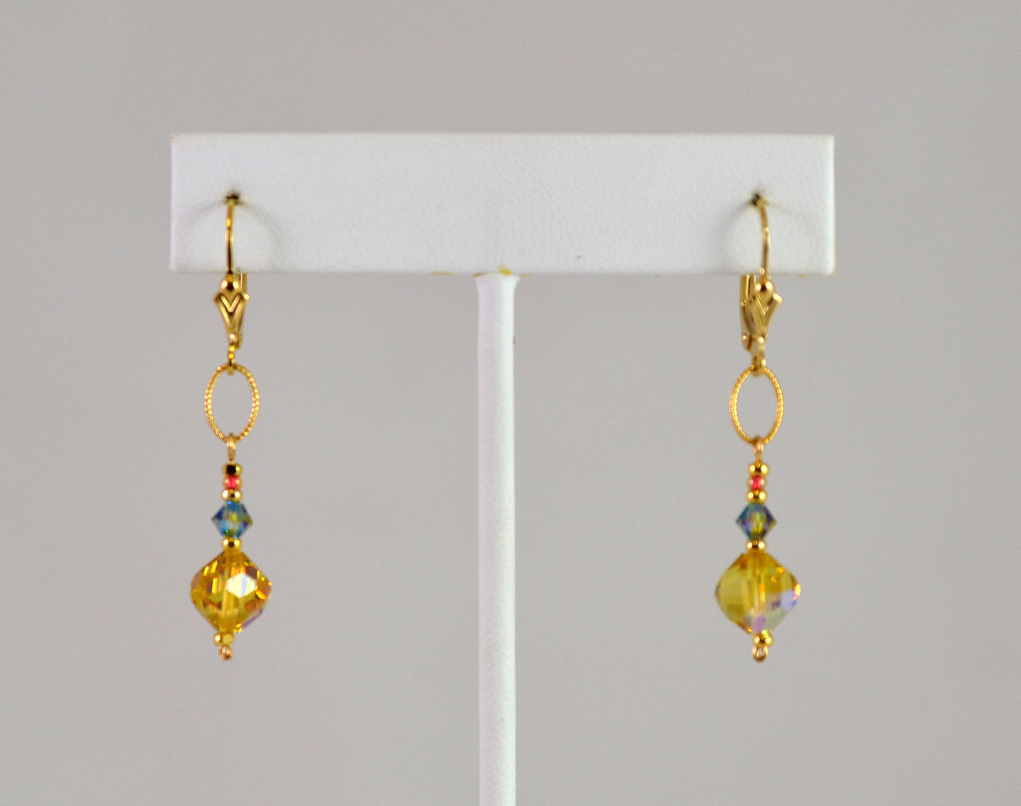Earrings with Vintage Light Madeiro Ball by Cynthia Bloom