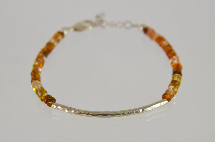 Beaded Bracelet (brown tone glass and sterling silver) by Christina Chomel