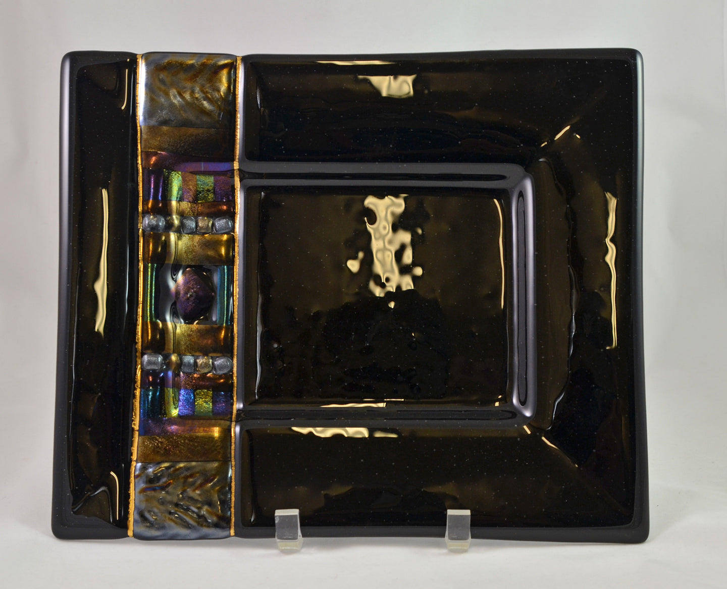Midnight Iridescence Large Rectangle Platter by Kathy Hudson