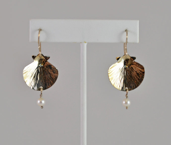 Silver Shell with Pearl Dangle Earrings by Deborah Richardson