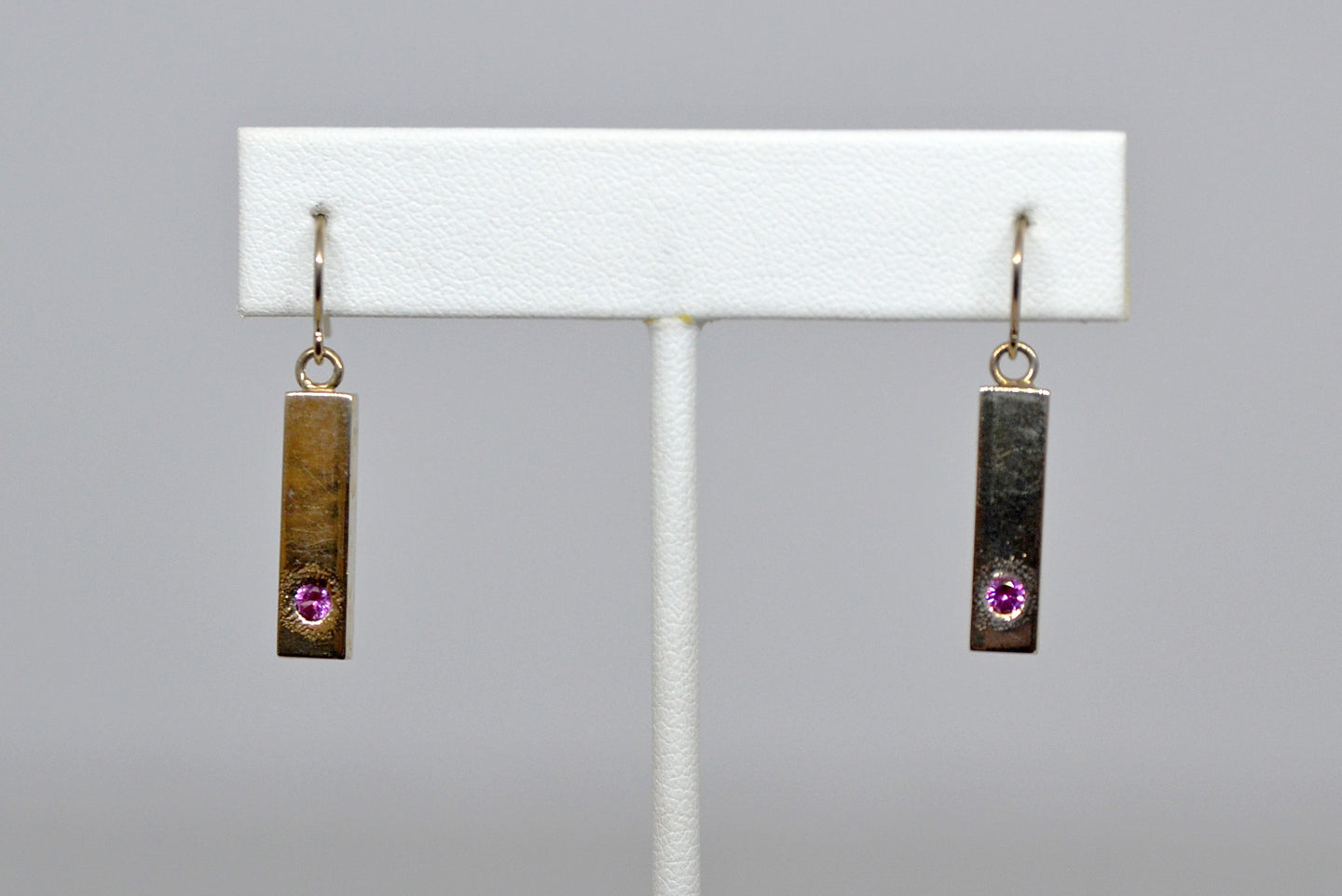 Earrings with pink stones by Christina Chomel