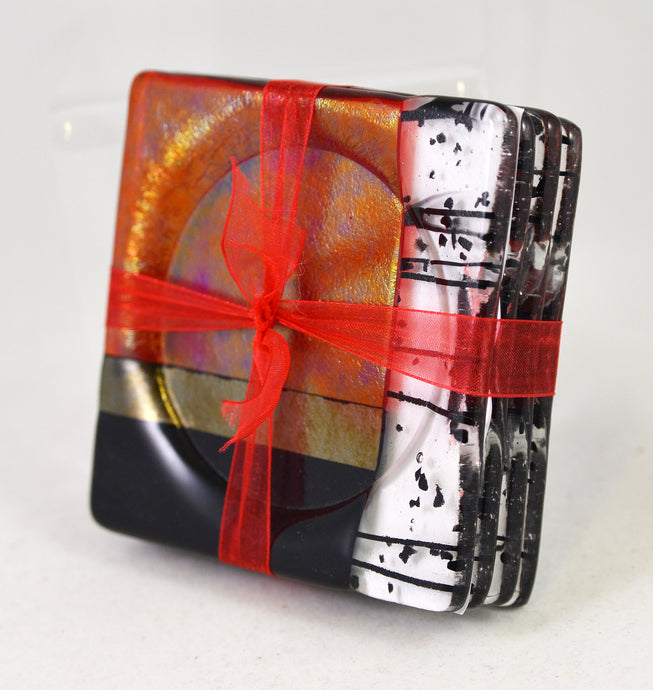 Red Retro Coaster Set by Me2U Glass