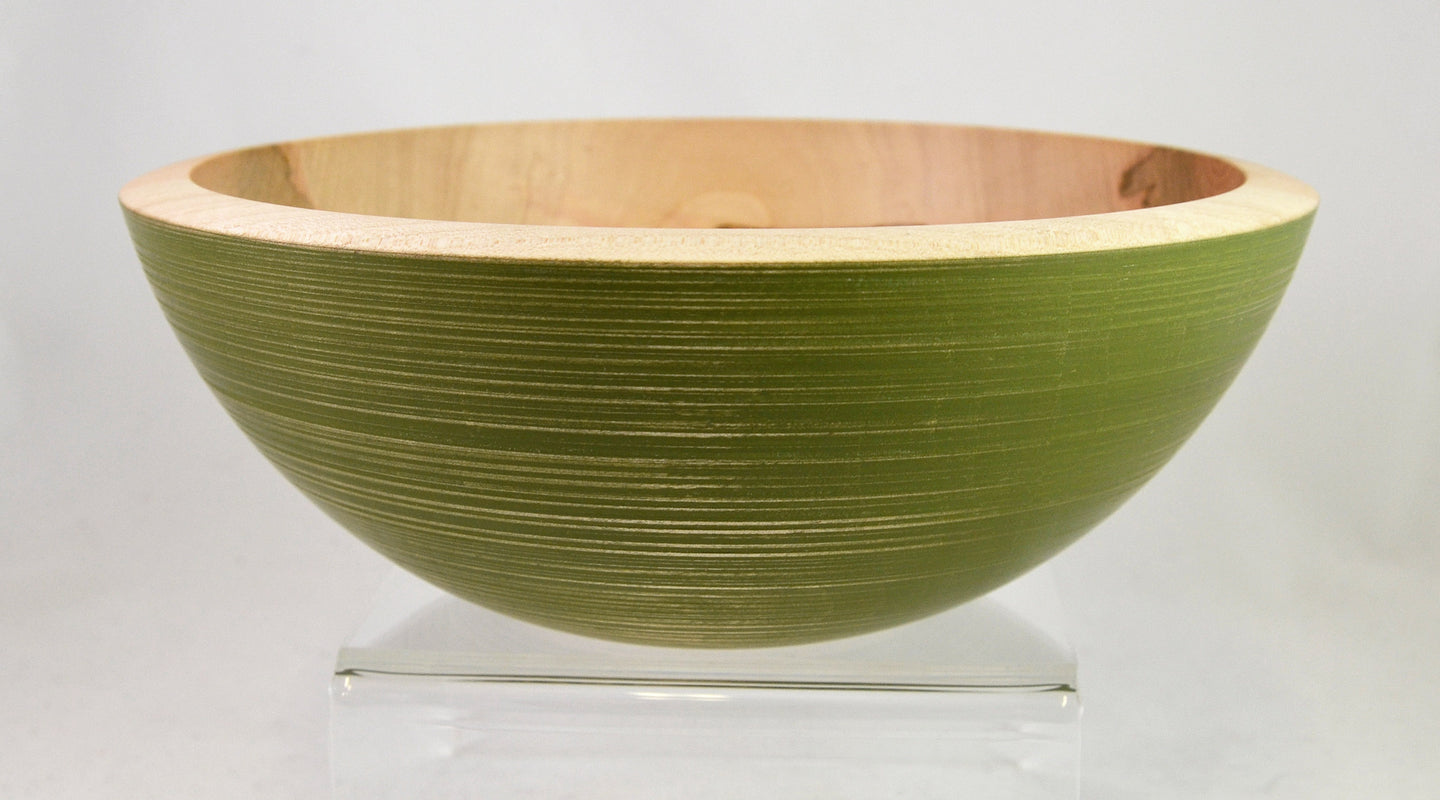 Bowl (medium, maple, green) by Mark Gardner