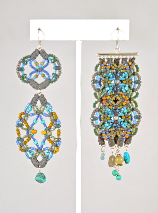 Beaded Earrings (turq/yellow-gold/lt. blue) by Renate Kasper