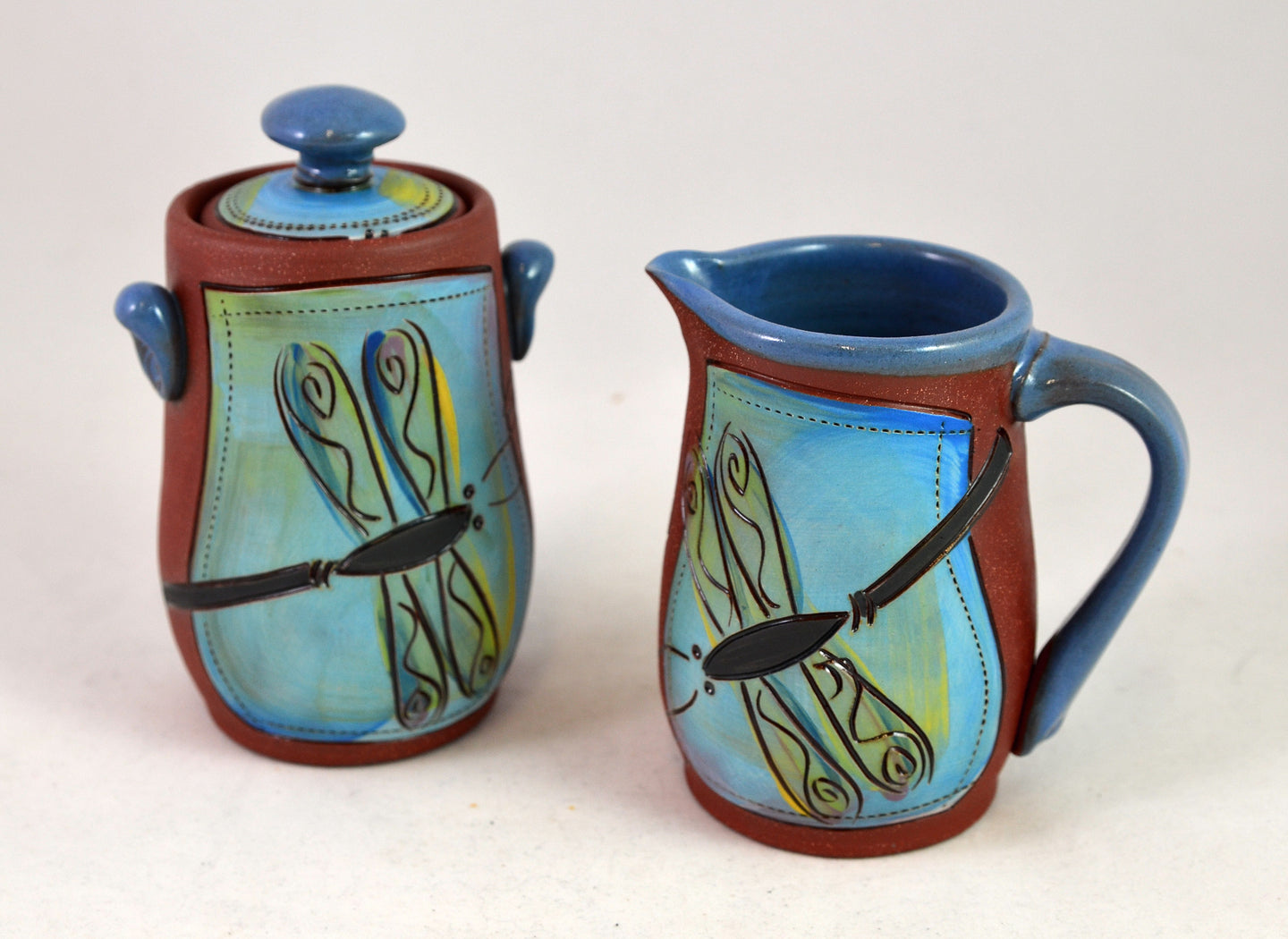 Dragonfly Sugar and Creamer by Jennifer Stas