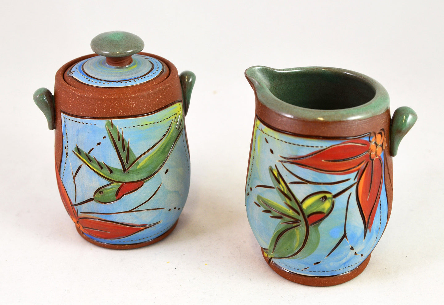 Hummingbird Sugar and Creamer by Jennifer Stas