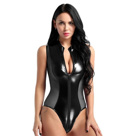Shiny Patent Leather Sheer Mesh Splice Zipper Open Crotch Swimwear