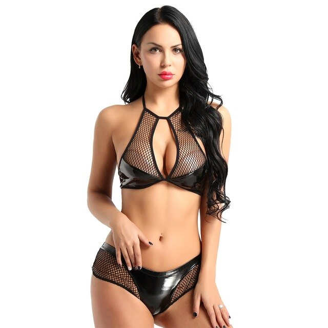 Wet Look Leather Fishnet Neck Bra Top with Mini Briefs