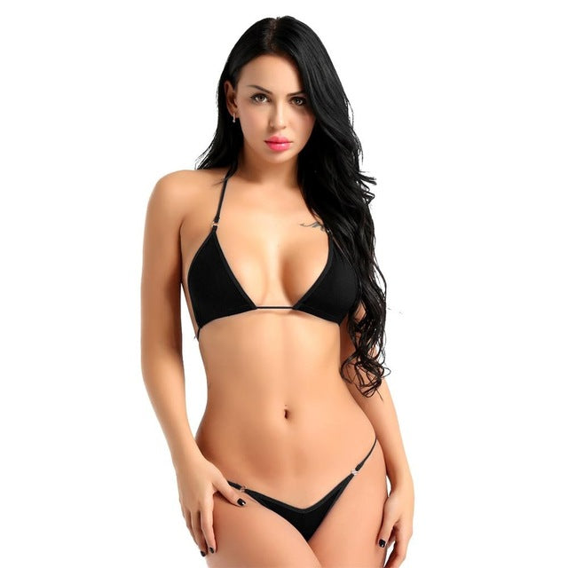 Sexy Micro Bikini Bra Top with G-String Briefs