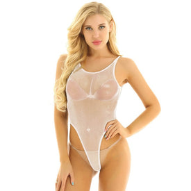 Fishnet Backless High Cut Thong Leotard Monokini
