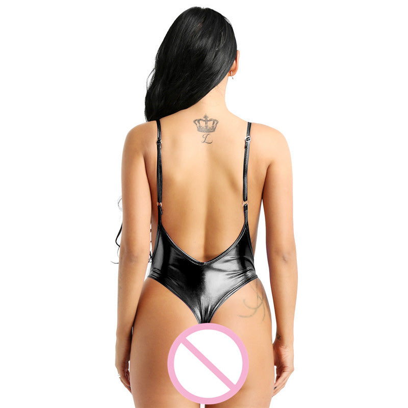 Shiny Metallic Sleeveless High Cut Patent Leather Swimwear