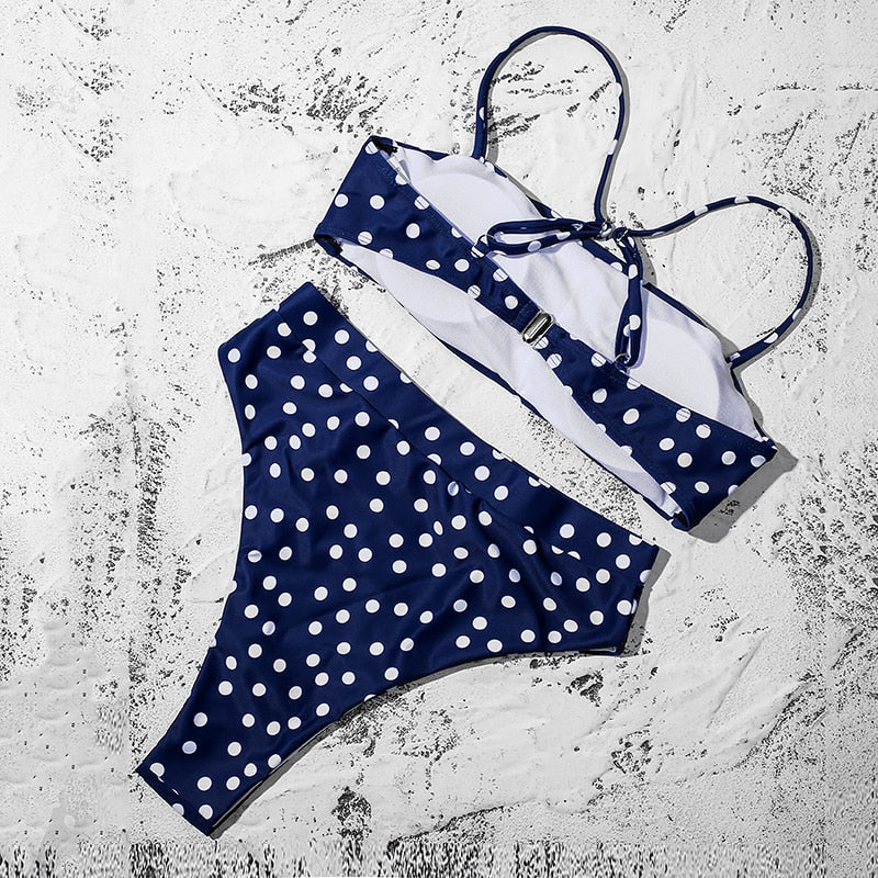 High Waisted Bikini Swimsuit with Padded Bra Straps