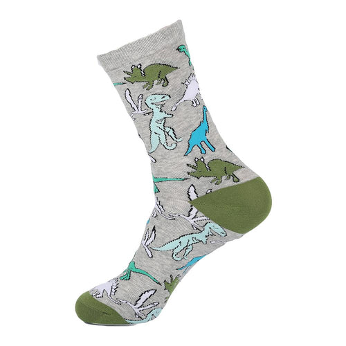 Grey socks with multi colour fun dinosaurs.  Novelty socks for men.
