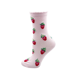Light pink socks with delicious strawberries.  Novelty socks for women.