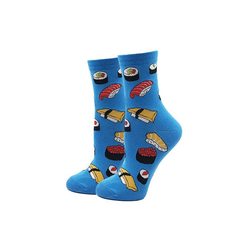 Bright Blue Yummy Sushi Novelty Socks - noveltysocks