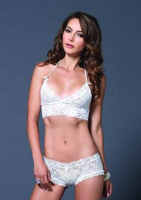 2 Pc. Lace Halter Bra Top with Matching String Booty Short - Small-medium - White