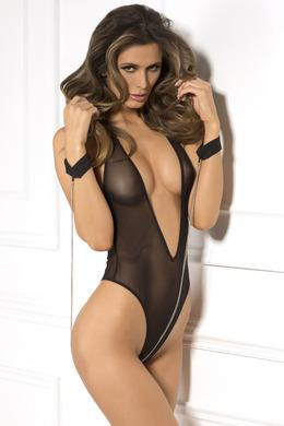 2pc Mesh Teddy & Cuff Set - One Size - Black