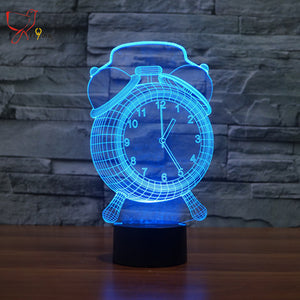 2017 new clock colorful 3D night light