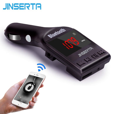 JINSERTA Bluetooth Car MP3 Player FM Transmitter Support TF Micro SD USB music playing